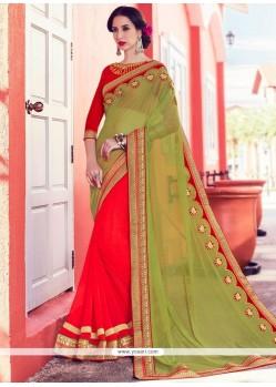 Alluring Green And Orange Half N Half Saree