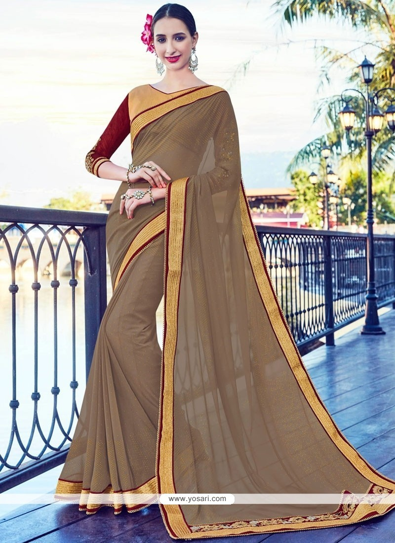 Dazzling Faux Georgette Brown Lace Work Classic Saree