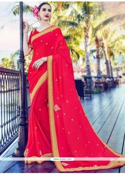 Awesome Chiffon Satin Patch Border Work Classic Designer Saree