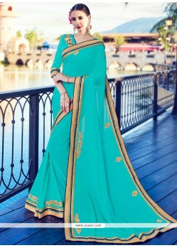 Preferable Turquoise Lace Work Contemporary Saree