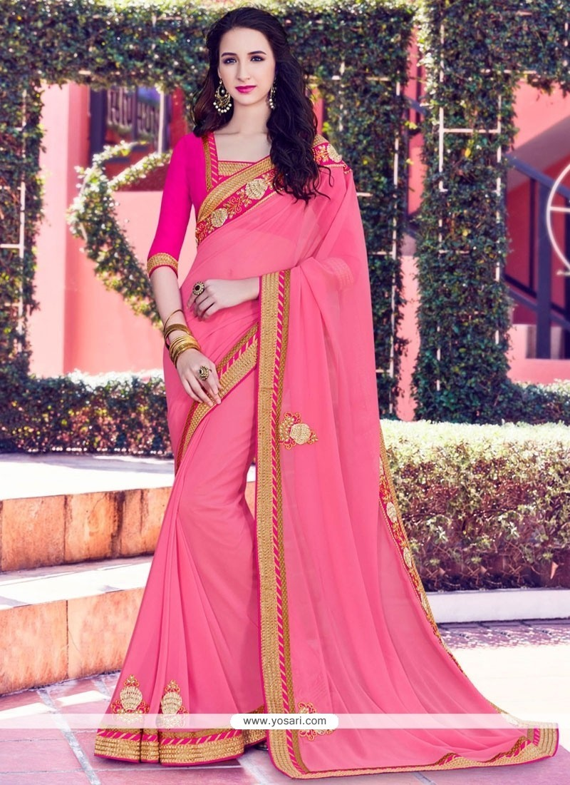 Fascinating Bamber Georgette Pink Patch Border Work Classic Saree