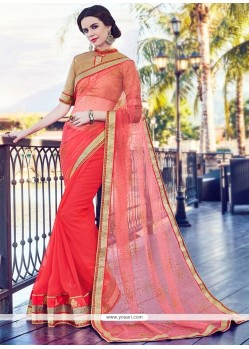 Sightly Net Rose Pink Half N Half Designer Saree