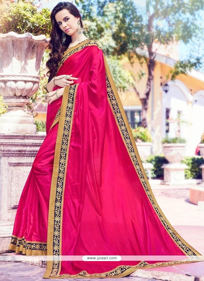 Stylish Magenta Zari Work Traditional Saree
