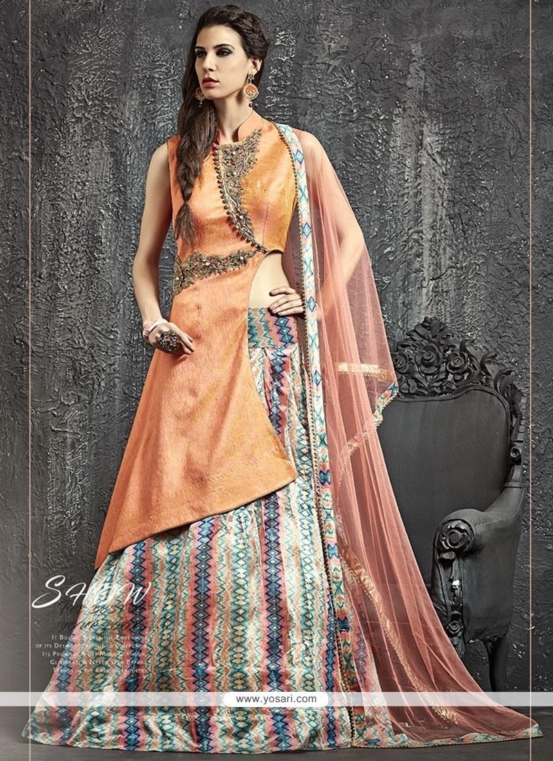 Snazzy Raw Silk Kasab Work Lehenga Choli