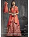 Girlish Banarasi Silk Orange Kasab Work Lehenga Choli