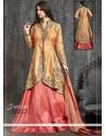 Fine Raw Silk Orange And Pink Kasab Work Lehenga Choli