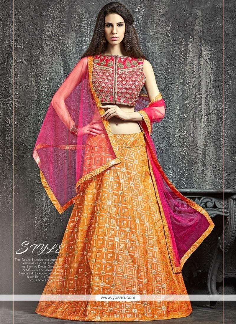 Thrilling Kasab Work Hot Pink And Orange Lehenga Choli