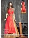 Tempting Sequins Work Beige And Red Raw Silk Lehenga Choli