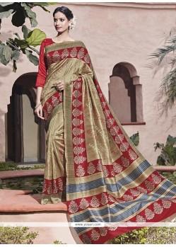 Multi Colour Print Work Art Silk Traditional Saree