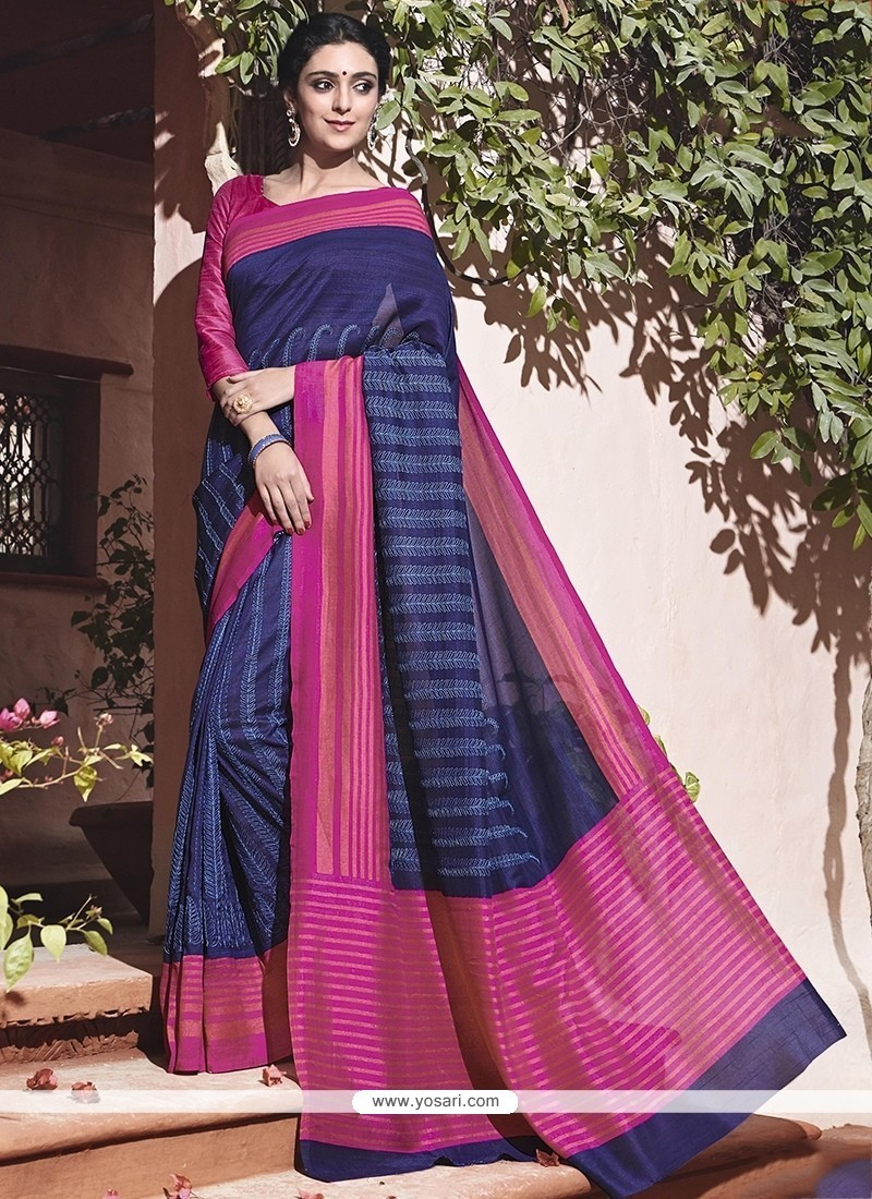 Celestial Print Work Hot Pink And Navy Blue Traditional Saree