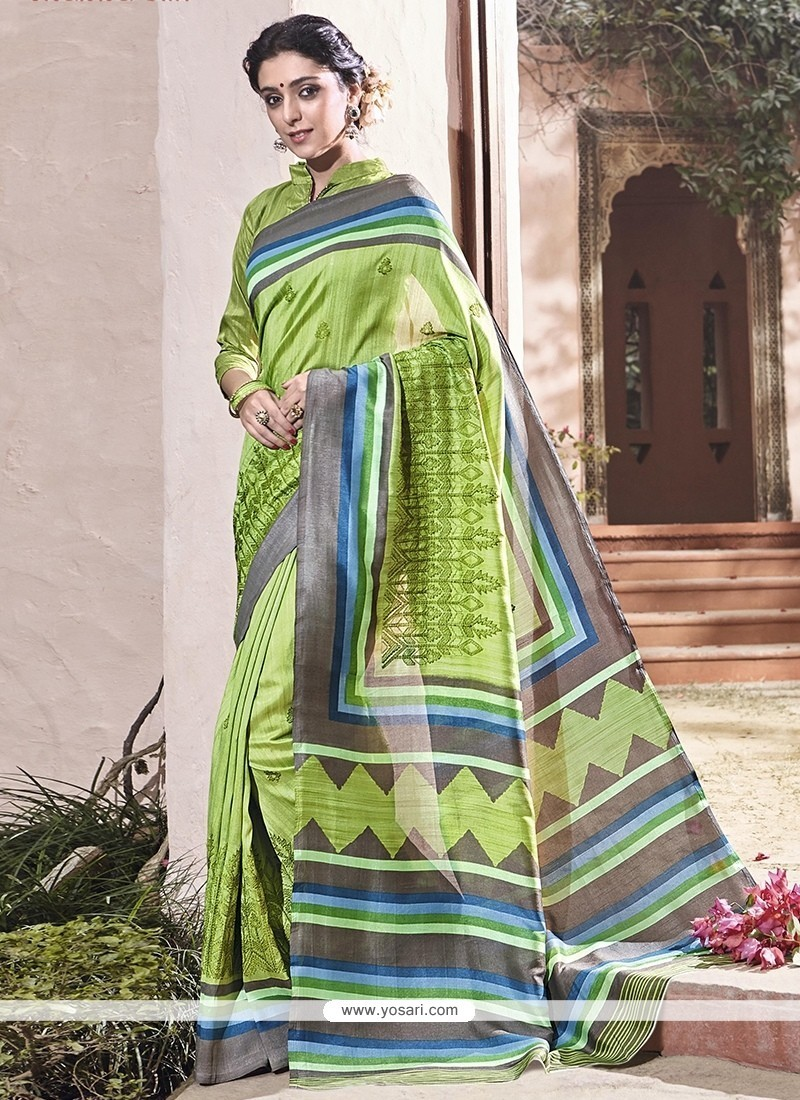 Glossy Art Silk Embroidered Work Traditional Saree