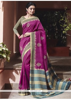 Suave Art Silk Magenta Traditional Saree