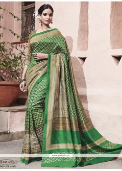 Stupendous Green Embroidered Work Art Silk Traditional Saree