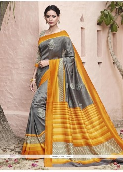 Captivating Art Silk Grey And Yellow Patch Border Work Traditional Saree