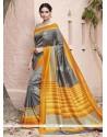 Captivating Art Silk Grey And Yellow Patch Border Work Traditional Saree