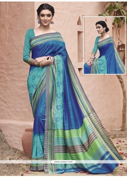 Superlative Blue Embroidered Work Traditional Saree