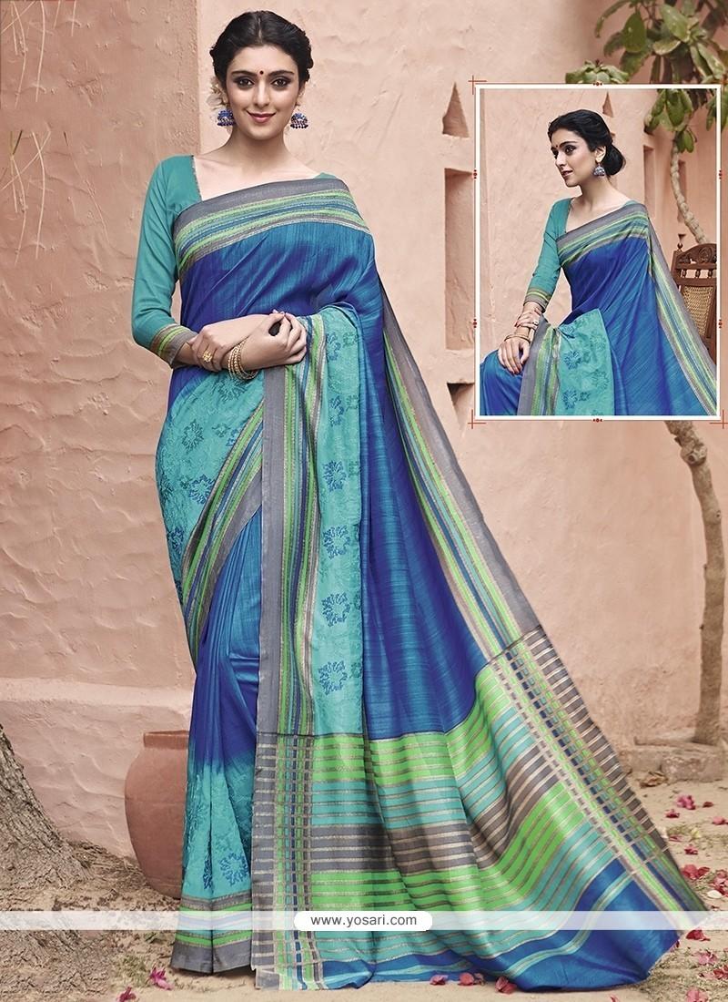 Superlative Blue Embroidered Work Traditional Saree