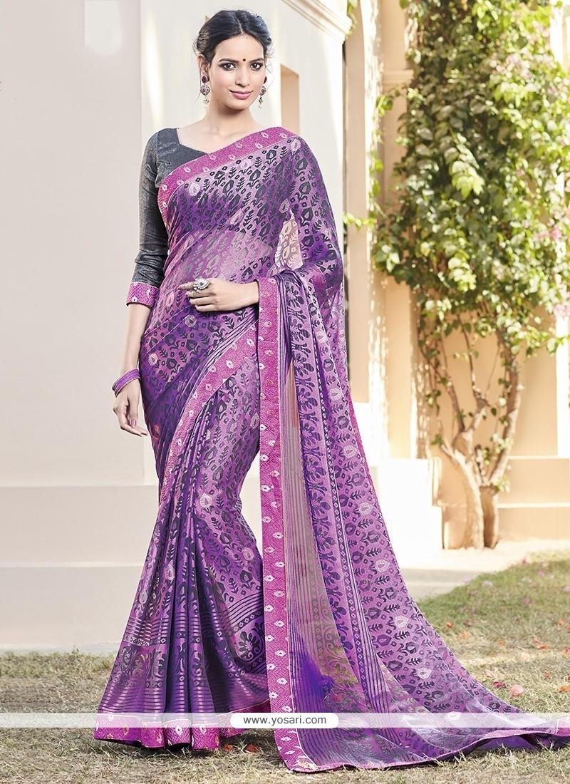 Deserving Purple Printed Saree