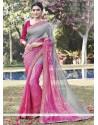 Sorcerous Multi Colour Lace Work Brasso Printed Saree