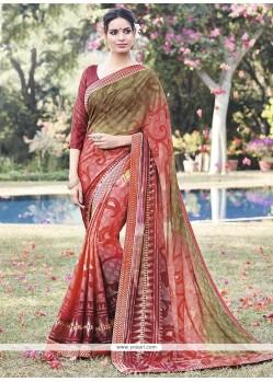 Suave Faux Chiffon Lace Work Printed Saree
