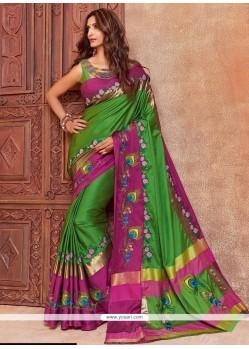 Divine Cotton Silk Green Traditional Saree