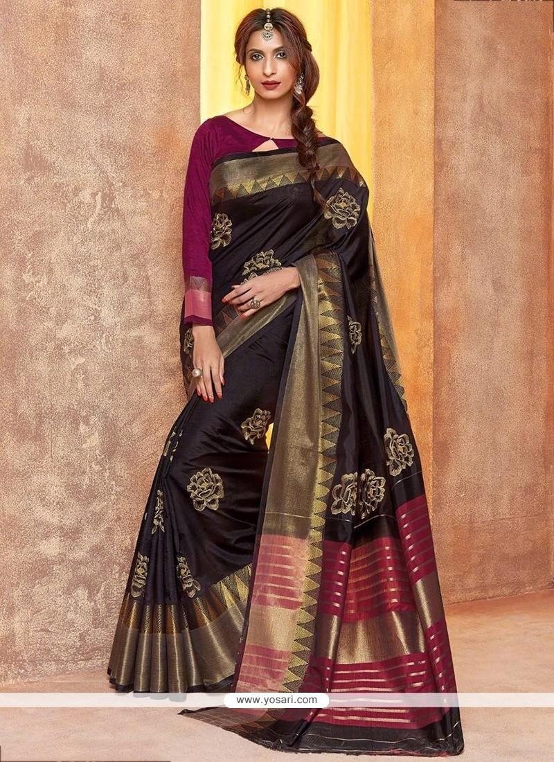 Modest Cotton Silk Black Embroidered Work Traditional Saree