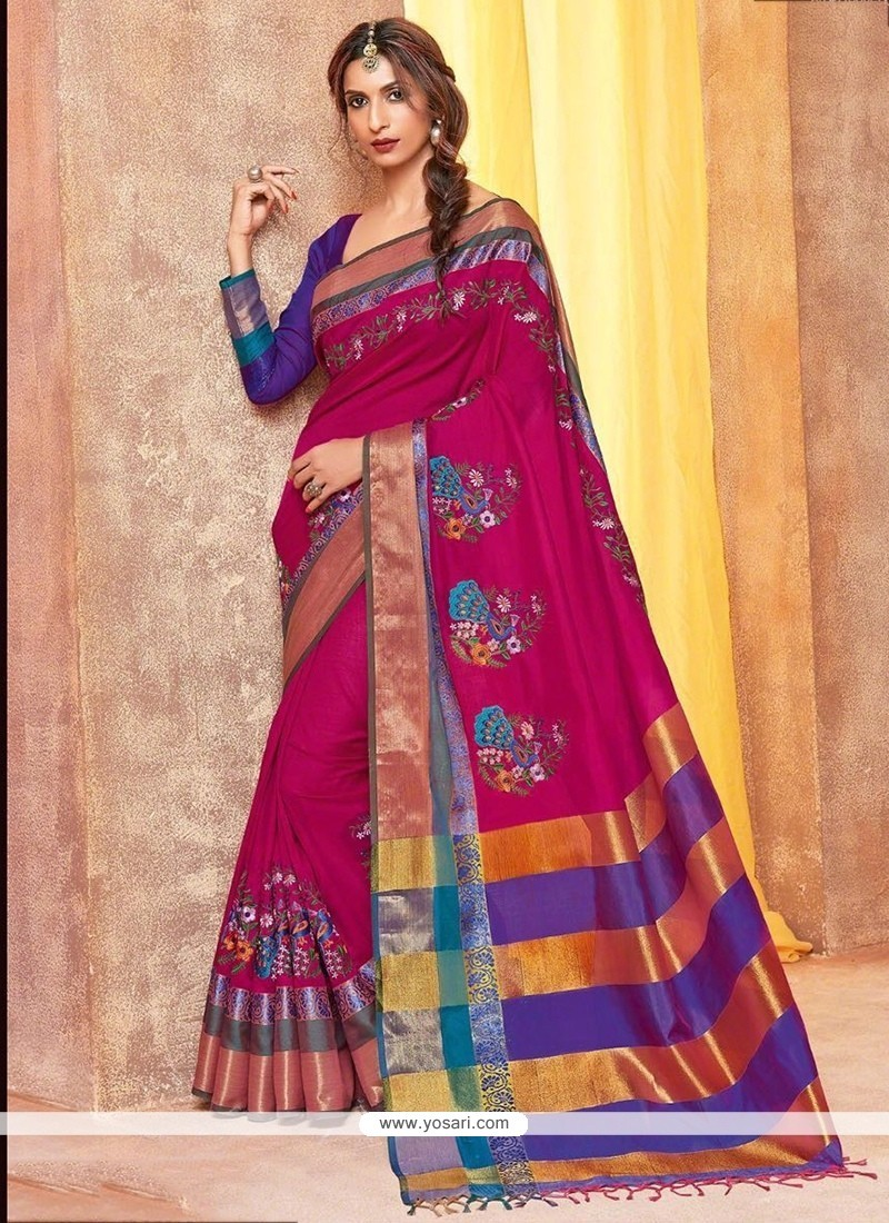 Ruritanian Cotton Silk Magenta Embroidered Work Traditional Saree