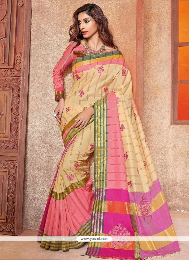 Prime Cotton Silk Cream Embroidered Work Traditional Saree
