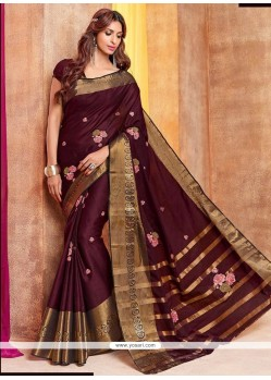 Surpassing Embroidered Work Traditional Saree