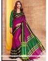Ruritanian Cotton Silk Magenta Traditional Saree
