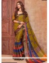 Piquant Cotton Silk Green Embroidered Work Traditional Saree