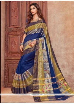 Voluptuous Cotton Silk Blue Designer Traditional Saree
