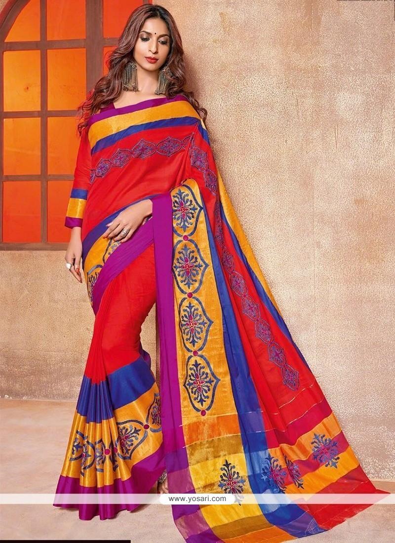 Sensational Embroidered Work Cotton Silk Traditional Saree