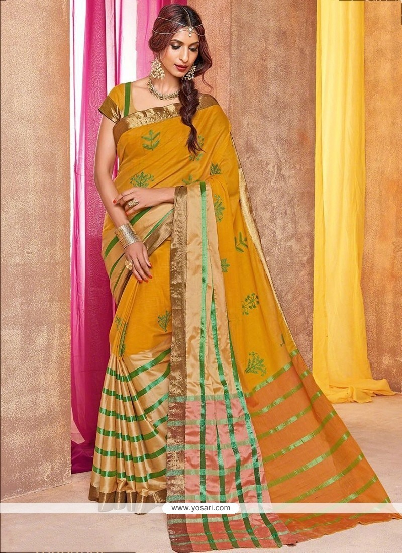 Prominent Cotton Silk Yellow Traditional Saree