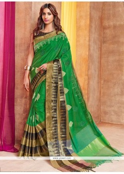 Green Embroidered Work Cotton Silk Traditional Saree
