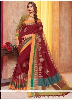 Pleasing Maroon Cotton Silk Traditional Saree