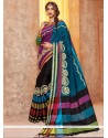 Subtle Black Embroidered Work Traditional Saree