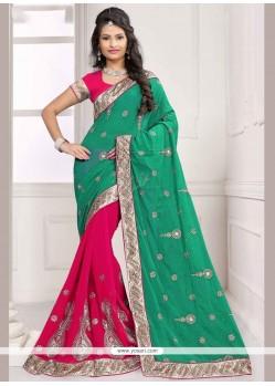 Flattering Resham Work Half N Half Designer Saree