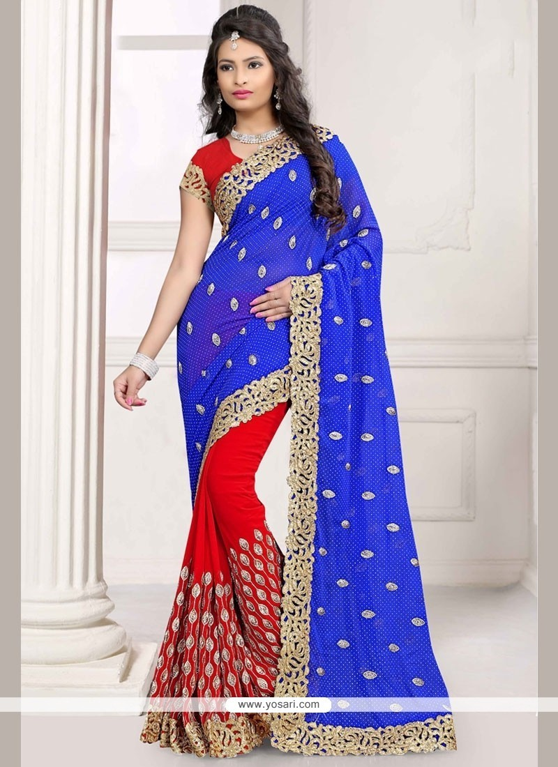 Chic Faux Georgette Blue And Red Half N Half Saree