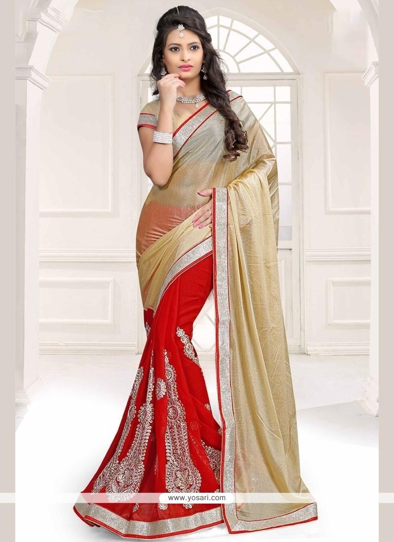 Aspiring Gold And Red Half N Half Designer Saree