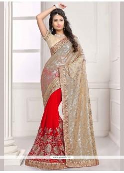 Ravishing Faux Chiffon Gold And Red Designer Half N Half Saree