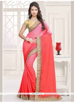 Beauteous Peach And Rose Pink Faux Chiffon Shaded Saree