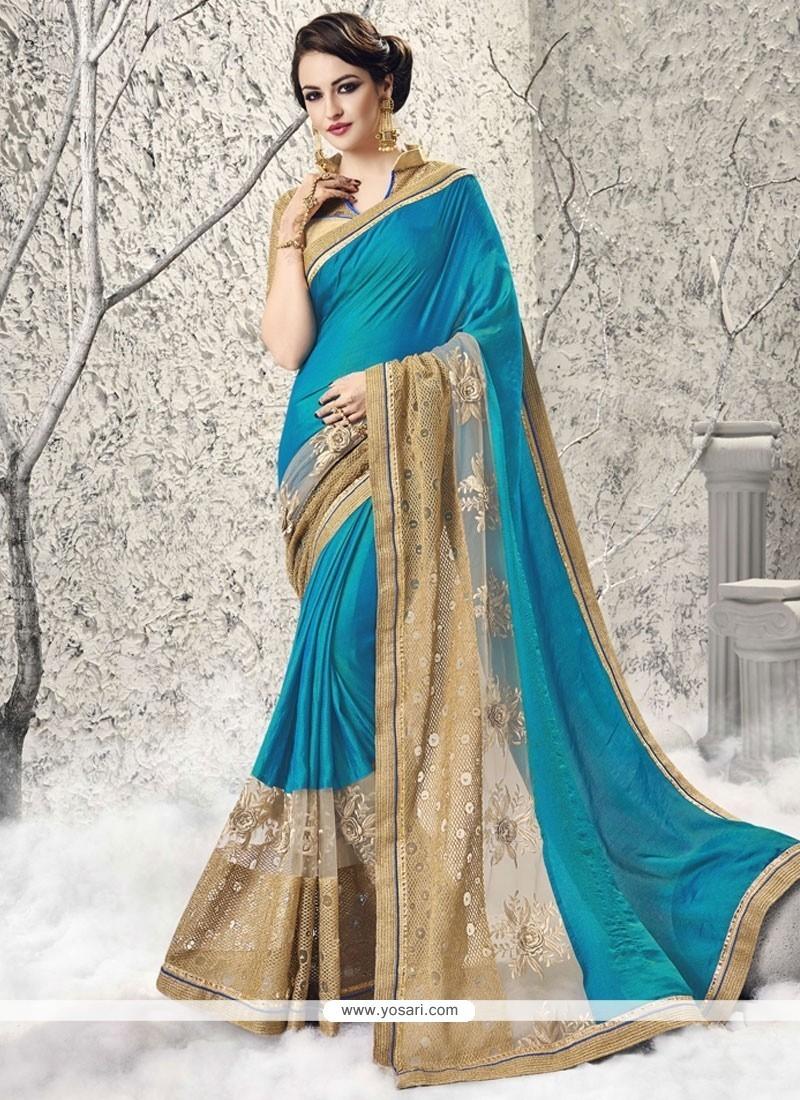 Gripping Fancy Fabric Turquoise Classic Designer Saree