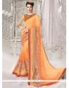 Exuberant Orange Half N Half Designer Saree