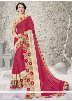 Vivid Patch Border Work Hot Pink Half N Half Designer Saree