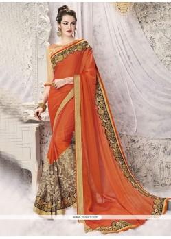 Sorcerous Faux Georgette Orange Designer Half N Half Saree