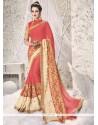Delightsome Rose Pink Zari Work Classic Saree