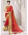 Glamorous Faux Georgette Red Resham Work Designer Saree