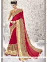 Magnetize Red Embroidered Work Classic Designer Saree