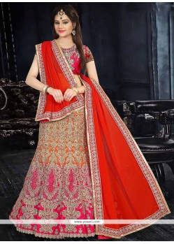 Classical Hot Pink And Red Patch Border Work Lehenga Choli